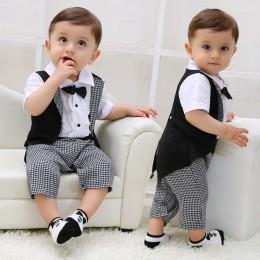 Baby Boy ubrania lato 2019 noworodka zestaw ubrań dla chłopców bawełniane ubranko dziecięce (koszula + spodnie) Plaid zestaw ubr