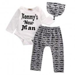 Baby Boy 3 sztuk zestaw dzieci odzież dla dzieci zestaw noworodka bawełna dla chłopca O-neck body + długie spodnie kapelusz stro