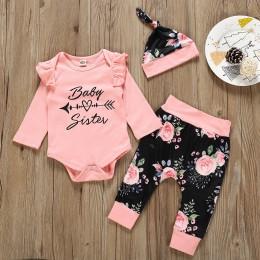 Noworodek dziewczynka ubrania niemowlę dziewczynka zestawy list Romper + spodnie w kwiaty + czapka noworodka ubrania dla dziewcz