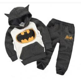 Batman zestaw dla niemowląt chłopcy odzież zestaw dla dzieci wełniane bluzy płaszcz spodnie zagęścić ciepłe ubrania zimowe niemo