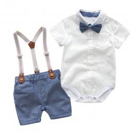Maluch chłopcy odzież zestaw noworodka elegancki garnitur dzieci z krótkim rękawem koszula z muszką + majtki z podwiązkami w sty
