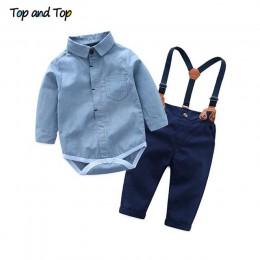 Top i Top maluch Boys Baby ubrania dla dżentelmenów zestawy z długim rękawem Romper + szelki spodnie 2 szt. Wesele strój codzien