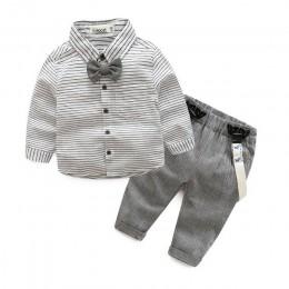 Noworodek ubrania dla dzieci odzież dla dzieci dżentelmen baby boy szara koszula w paski + kombinezony moda baby boy ubrania now