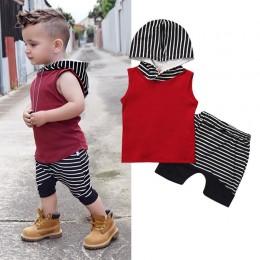 Noworodek strój zestaw ubrań dla chłopców czerwony bluza z kapturem bluzki w paski spodnie bluza z kapturem bez rękawów niemowlę