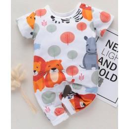 PatPat wiosenna i jesienna nowa bawełniana nowonarodzona moda śliczny zwierzęcy lew Hippo kombinezon odpowiedni dla dziecka pełz