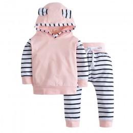 2019 jesień zestaw ubranek dla chłopca z długim rękawem ciepły t-shirt z kapturem + spodnie dla niemowląt 2 szt./garnitur noworo