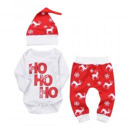 Ubrania zimowe dla niemowląt noworodek Baby Boy śpioszki dziewczęce topy + spodnie świąteczne stroje z jelenia snowflake zestaw