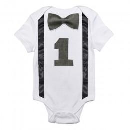 Baby Boy Romper maluch chłopcy ubrania dla dzieci kombinezon 1st urodziny pajacyki odzież dla niemowląt Playsuits jeden rok chło