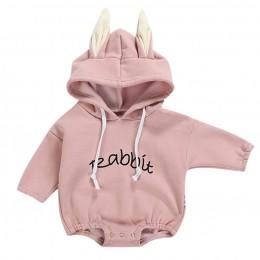 Todder Kid ubrania dla noworodków dziewczyna chłopiec królik list bluza topy wiosenne jesienne ubrania swetry body kostiumy dla