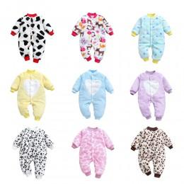 Baby Girl Boy gruby Romper ciepłe zimowe noworodka dziecko Leopard Carto polar Romper kombinezon miękka piżama ubrania 2019 najn