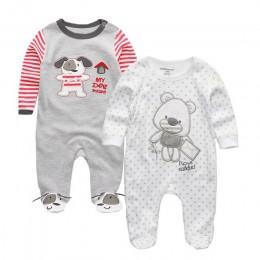 Śpioszki dla chłopców Infantil Roupa noworodka dziewczyny ubrania 100% miękka bawełniana piżama kombinezony długie Sheeve śpiosz