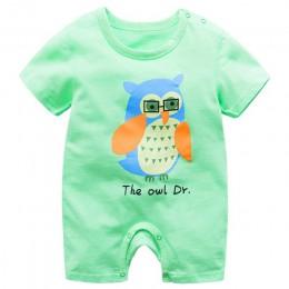 Ubrania dla dzieci 100% bawełna z krótkim rękawem letnie dziewczyny chłopcy pajacyki maluch niemowlę 0-18 miesięcy ubrania