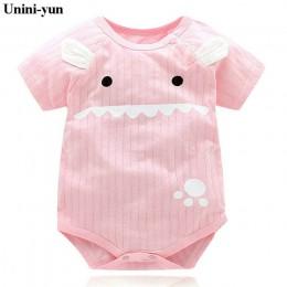 Nowe letnie chłopięce Romper w zwierzęcym stylu z krótkim rękawem pajacyki dziecięce kombinezon bawełniane śpioszki dla niemowlą