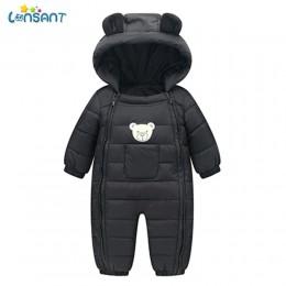 LONSANT pajacyki dziecięce zimowe kieszenie z kapturem Baby Boy ubrania Dos Desenhos Animados Menina Infantil dziecięce zimowe p