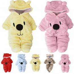 Noworodek dziewczynka chłopiec solidna kreskówka niedźwiedź aksamitna kombinezon z kapturem Romper ubrania roupas recem-nascido