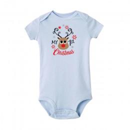 Moje pierwsze święta kombinezon dla malucha kostiumy dla sukienki dla niemowląt noworodka bawełna śpioszki dla niemowląt śmieszn