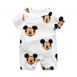 Letnie pajacyki z krótkim rękawem dziecięce ubrania do wspinaczki czystej bawełny cienki kombinezon nowonarodzone dziecko chłopc