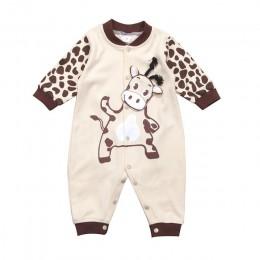 0-24 miesięcy Unisex noworodka śpioszki dla niemowląt z długim rękawem dziewczynek pajacyki 2019 jesień krowa mleczna drukuj Boy