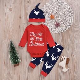 Noworodka dla dzieci boże narodzenie kostium dziewczyny chłopcy list Snowflake Romper ubrania Deer spodnie 2 sztuk dla dzieci Xm