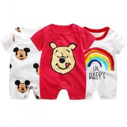 Mickey śpioszki dla niemowląt Cartoon Baby Boy ubrania dla dzieci kombinezon chłopcy letnie Onesie niemowlę dziewczynek ubrania
