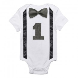 Dziecięce śpioszki dla chłopców białe dziecięce kombinezony jednoczęściowe pierwsze stroje urodzinowe 12 miesięcy nowonarodzone