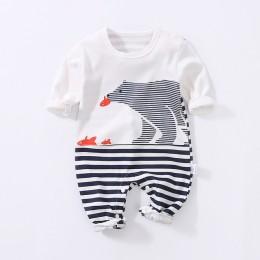 YiErYing wysokiej jakości miękka odzież dla noworodka śpioszki dla niemowląt Cartoon drukowanie 100% bawełna z długim rękawem dl