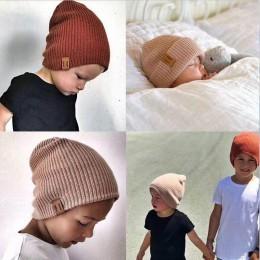 REAKIDS New Arrival Baby Girl Boy czapka zimowa dla dzieci miękka ciepła czapka typu beanie szydełka elastyczność czapki z dzian