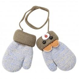 Zimowe dla niemowląt chłopcy dziewczęta rękawiczki z dzianiny ciepłe liny pełne mitenki rękawiczki dla dzieci maluch wiszące ręk