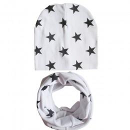 Zimowa wiosna zestaw dziecięcych szalików bawełniany kapelusz niemowlęcy dla chłopca lub dziewczynki czapka nadruk gwiazdy dla d