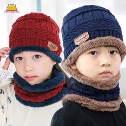 Dzianiny czapki dla dzieci szalik Turban Beanie bawełna ciepła wełna futro czapki miękki kapelusz dla dzieci dziewczyny chłopcy