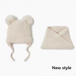 Czapki dla dzieci czapka dziecięca i szalik 2 sztuk/partia Baby Girl kapelusz jesień zima podwójna warstwa dzianiny ciepłe chłop