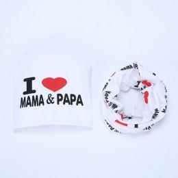 2 szt. Bawełniany zestaw dziecięcych szalików wiosna kocham MAMA PAPA drukuj jesień zima dzieci czapki szaliki chłopcy dziewczęt