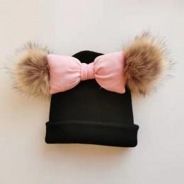 Maluch niemowlę dziecko bawełna kolorowa duża muszka motylkowy węzeł Melamed wełna kapelusz czapka czapka dla dziewczynek dzieck