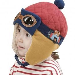 Zimowe ciepłe czapki dla dzieci 4 kolory niemowlę maluchy chłopcy dziewczęta czapki i czapki Pilot czapki Eargflap kapelusz dzie