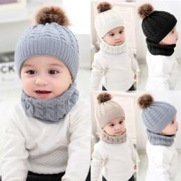 2 sztuk dziewczyny chłopcy czapka + zestaw szalików maluch dziecko zima ciepła futrzana kulka kapelusze O pierścień szaliki dzie