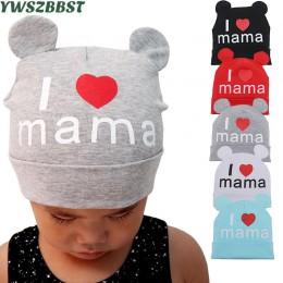 Nowa wiosna jesień czapka dla niemowląt śliczne ucho bawełna dziewczyny czapka szalik czapki dla niemowląt kocham MaMa dzieci ch