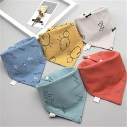 Śliniaki dla dzieci trójkąt podwójna bawełniana śliniaki 5 części/partia nadruk kreskówkowy śliniaczek dla dzieci chłopców dziew