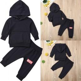 Moda Newborn Baby chłopcy bawełna z kapturem jednolity kolor koszulki topy + długie spodnie ubrania bluzy jesień stroje zestaw