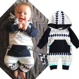 Moda dla niemowląt chłopców ubrania jesień noworodka maluch bluzy bluzy geometryczny kształt trójkąt paski odzież dla chłopca ze