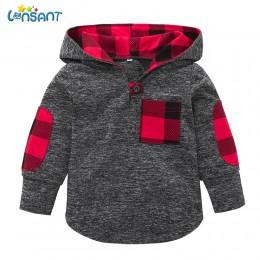 LONSANT 2018 wysokiej jakości maluch Baby Boy dziewczyna Plaid bluza z kapturem bluza z kieszenią pulowerowe topy ciepłe ubrania