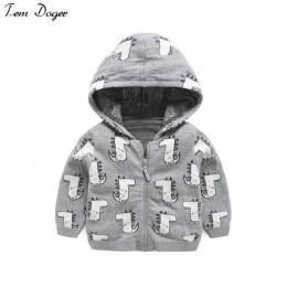 Tem Doger jesień śliczna kurtka dla chłopców maluch z długim rękawem dinozaur bluzy bluzy odzież wierzchnia płaszcze chłopiec od