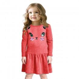 Księżniczka Girls Dress nowa moda lato nadruk kota dzieci z długim rękawem Cartoon baby girl bawełniane sukienki imprezowe dla d