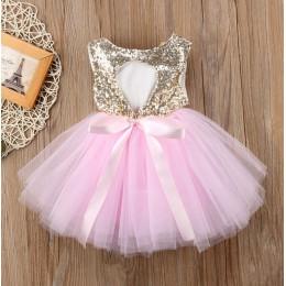 Korowód dzieci dziewczynka księżniczka sukienka Tutu tiul z wycięciem na plecach Out Party Dress różowa czerwona suknia balowa s