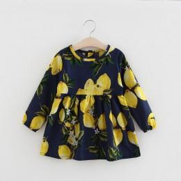 Nowe sukienki z długim rękawem dla dzieci dziewczyny nadruk w kwiaty sukienka dla księżniczki letnie ubrania dla dzieci 2 3 4 5