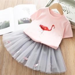 Dziewczyny odzież ustawia 2019 lato księżniczka dziewczyna błyskotkowa gwiazda Flamingo Top + błyskotkowa gwiazda sukienka 2 szt