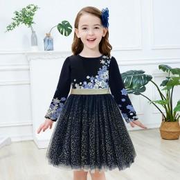 VIKITA sukienka dla dziewczynek z długim rękawem dla dzieci Party wykonaj sukienka z cekinami dla dzieci księżniczka jednorożec