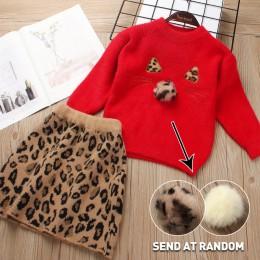 Miś lider dziewczyny sukienka nowa marka księżniczka sukienka sweter z motywem kreskówki + sukienka trapezowa sukienki dla dziew
