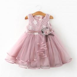 Koronkowe sukienki dla małych księżniczek letnie sukienki bez rękawów tiulowe sukienki dla dziewczynek 2 3 4 5 6 lat ubrania str
