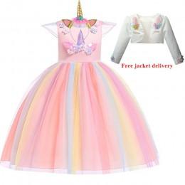 Nowa sukienka Elsa jednorożec dla dziewczynek haft suknia dla dziewczynki księżniczka suknie urodzinowe na stroje imprezowe dla