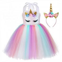 Małe dziecko kucyk sukienka jednorożec urodziny tutu sukienka dla dziewczynek jednorożec sukienka bluzka cekinowa pastelowa odzi